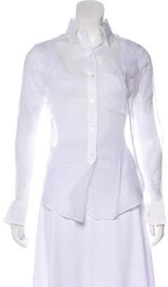 Black Fleece Sheer Button-Up Top