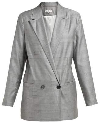 Ganni Merkel Double Breasted Silk And Wool Blend Blazer - Womens - Grey