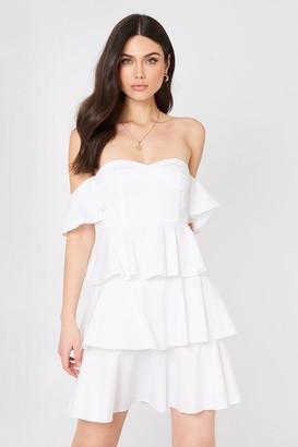 Na Kd Boho Off Shoulder Mini Flounce Dress