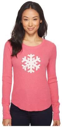 Life is Good Snowflake Long Sleeve Waffle Tee Women's Long Sleeve Pullover