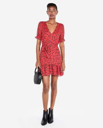 Express Floral Short Sleeve Ruffle Hem Mini Dress