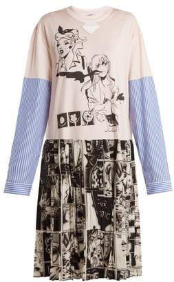 Prada Comic-print cotton-jersey and silk dress