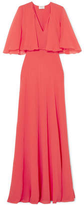 Giambattista Valli Cape-effect Satin-trimmed Silk-georgette Gown - Coral