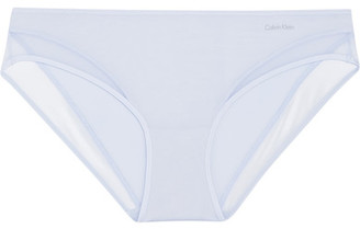 Calvin Klein Underwear - Naked Touch Mesh-trimmed Stretch-satin Briefs - Sky blue $40 thestylecure.com