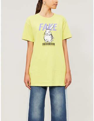 B+AB Slogan-print cotton-jersey T-shirt