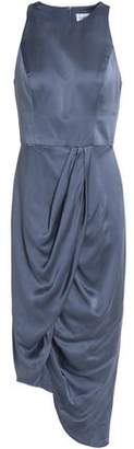 Zimmermann Asymmetric Gathered Washed Silk-Satin Dress