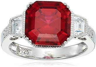 Platinum Plated Sterling Silver Created Asscher Cut Vintage Style Ring