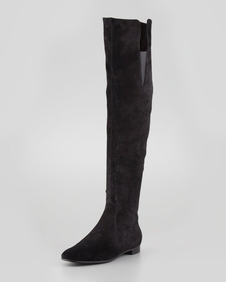 Giorgio Armani Suede Over-the-Knee Flat Boot, Black