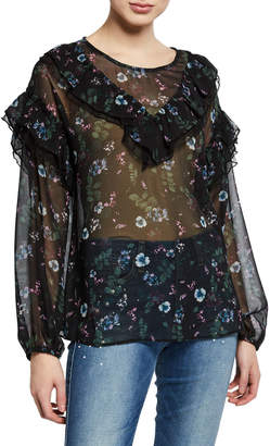 Kensie Winter Night Sheer Ruffle Blouse