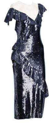 Monique Lhuillier Asymmetrical Sequin Dress