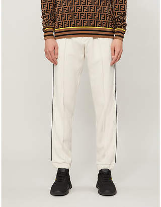 Fendi Side-stripe wool, cotton, silk and cashmere-blend jogging bottoms