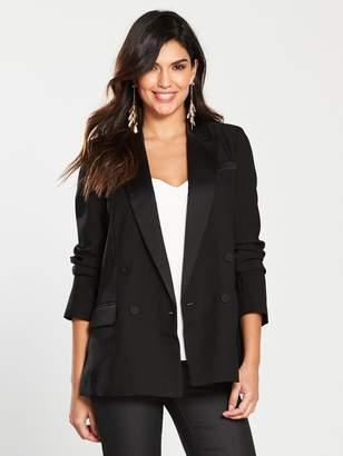 Warehouse Double Breasted Tuxedo Jacket - Black