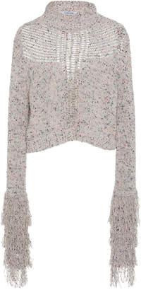 Cushnie Fringe Cotton-Blend Cropped Sweater