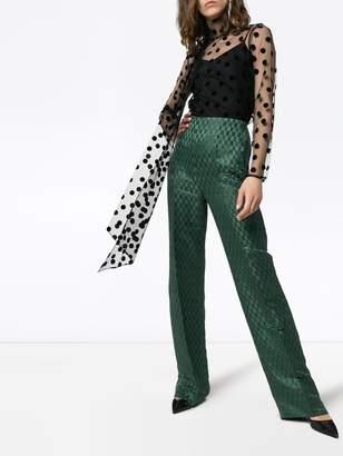 Erdem Yvonna polka-dot tie neck mesh blouse