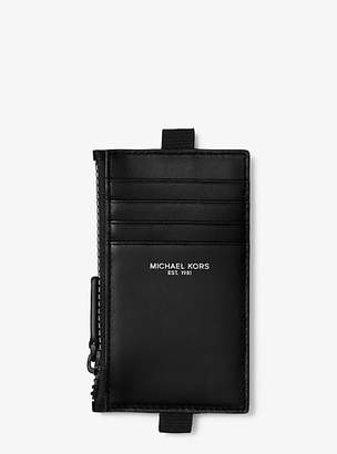 Michael Kors Leather Lanyard Zip Card Case