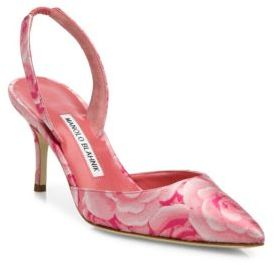 Manolo Blahnik Carolyne Floral-Print Slingbacks $695 thestylecure.com