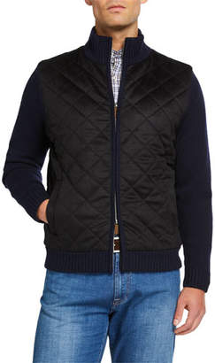 Neiman Marcus Men's Wool/Cashmere Diamond Quilted Full Zip Sweater