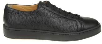 Santoni Sneakers In Black Leather