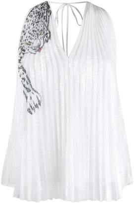 Krizia Vintage leopard detail pleated blouse