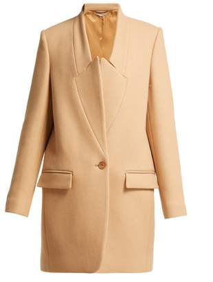 Stella McCartney Bryce Inverted Lapel Wool Coat - Womens - Beige