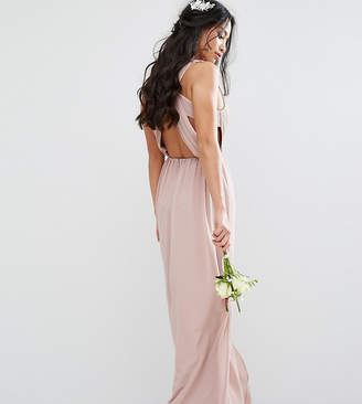 TFNC Petite Wedding Pleated Maxi Dress With Open Back Detail