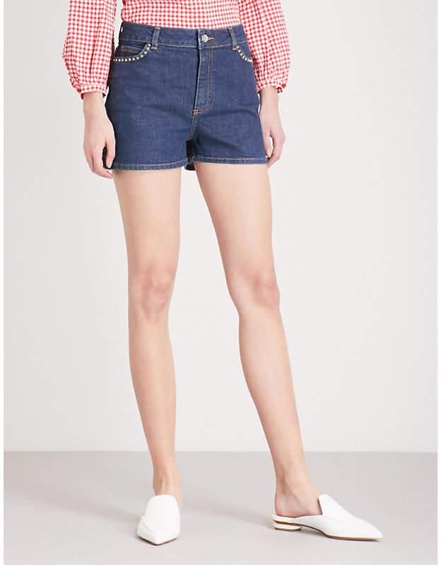 Studded-detail stretch-denim shorts