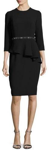Carmen Marc ValvoCarmen Marc Valvo 3/4-Sleeve Crepe Peplum Cocktail Dress, Black