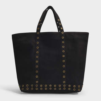 2fa3df8348b Vanessa Bruno Medium + Cabas Tote Bag In Black Nubuck Leather And Eyelets