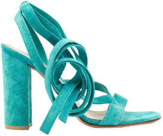 Gianvito Rossi Turquoise Suede Heels