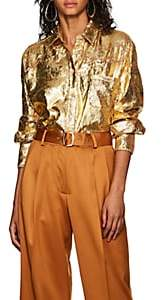 Sies Marjan Women's Sander Crinkled Metallic Chiffon Blouse - Gold