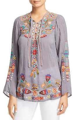 Johnny Was Collection Free Spirit Embroidered Tie-Neck Top