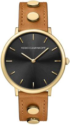 Rebecca Minkoff Major Stud Leather Strap Watch, 35mm