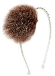 Bari Lynn Fox Fur Pom-Pom Headband