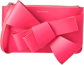DELPOZO Mini Bow Leather Clutch Bag