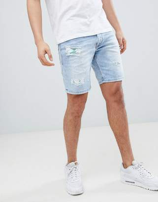 Versace Skinny Denim Shorts In Blue With Distressing