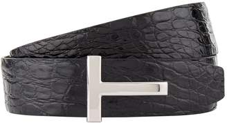 Tom Ford Reversible Crocodile Embossed Leather Belt