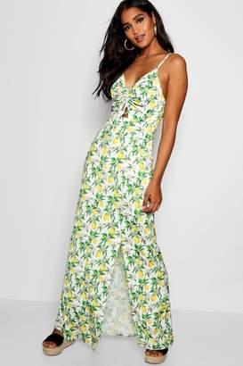 boohoo Erin Lemon Print Ruched Maxi Dress