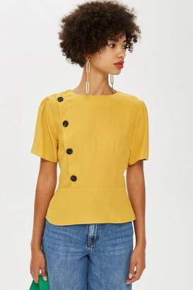 Topshop Button Short Sleeve Blouse