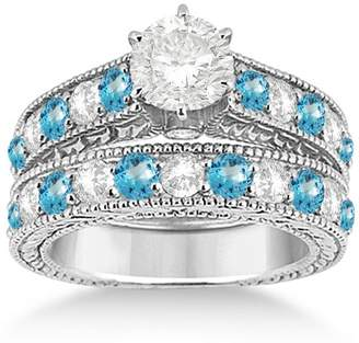 Allurez Antique Diamond and Topaz Gemstone Bridal Wedding Ring Set in Fine 18k White Gold (3.12ct)