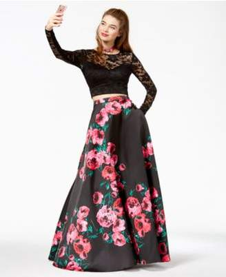 B. Darlin Juniors' Lace Printed-Skirt 2-Pc. Gown, Created for Macy's