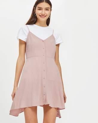 PETITE Button Asymmetric Mini Dress