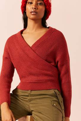 Forever 21 Ribbed Knit Surplice Sweater
