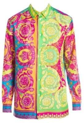 Versace Multi-Color Baroque Silk Shirt