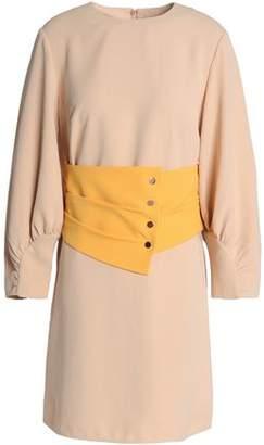Tibi Belted Two-Tone Crepe Mini Dress