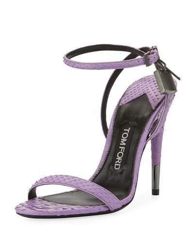 TOM FORD Python Padlock Ankle-Wrap 105mm Sandal, Lilac