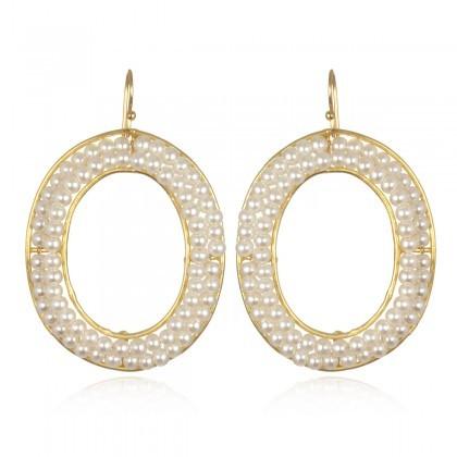 Wendy Mink Oval Frame White Pearl Earrings