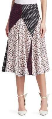 Calvin Klein Women's Mixed Print Silk Midi Skirt - Size 38 (2)