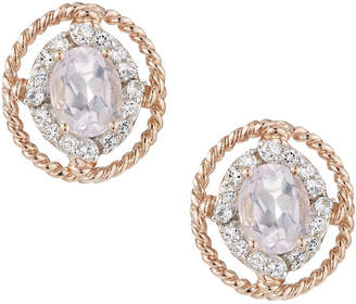 Viola Pink Amethyst & Topaz Stud Earrings, Golden