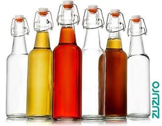 clear Zuzoro Glass Kombucha Bottles For Home Brewing Kombucha Kefir or Beer - 16 oz Glass Grolsch Bottles case of 6 w/ Easy Swing top Cap w/ Gasket Seal Tight