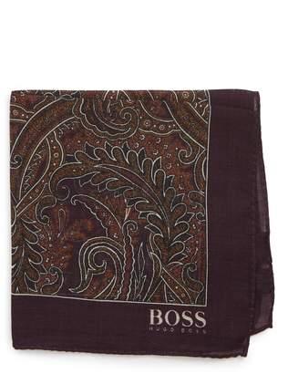 BOSS Paisley Wool & Silk Pocket Square